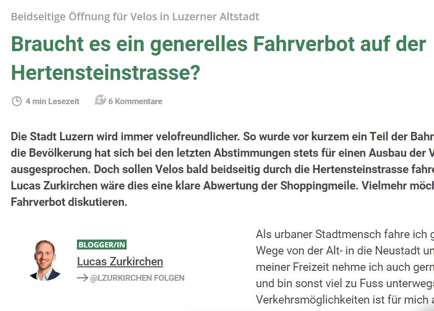 Braucht es ein generelles Fahrverbot auf der Hertensteinstrasse?